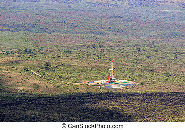 Geothermal power plant in Menengai Crater, Nakuru, Kenya,...