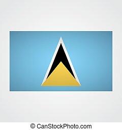 Saint Lucia flag flag on a gray background. Vector...