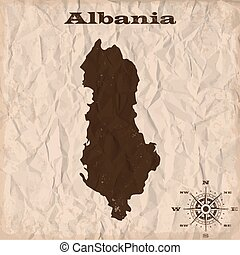 Albania old map with grunge and crumpled paper. Vector illustration