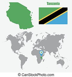 Tanzania map on a world map with flag and map pointer....