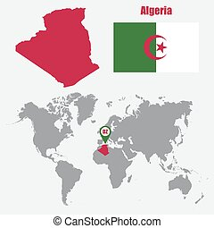 Algeria map on a world map with flag and map pointer. Vector...
