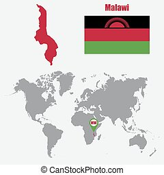 Malawi map on a world map with flag and map pointer. Vector...