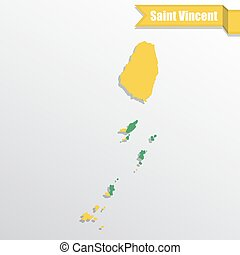 Saint Vincent map with flag inside and ribbon