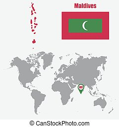 Maldives map on a world map with flag and map pointer. Vector illustration
