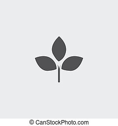 Leaf icon in a flat design in black color. Vector...