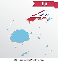 Fiji map with flag inside and ribbon