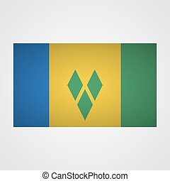 Saint Vincent flag flag on a gray background. Vector...