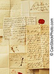 vieux, lettres, élégant, Écriture