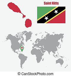 Saint Kitts map on a world map with flag and map pointer....