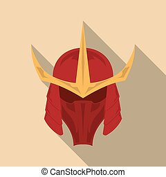 Samurai armor helmet with long shadow in a flat design....