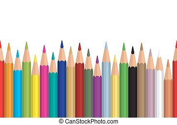 Seamless colored pencils row with wave on lower side. Flat design. Vector illustration eps10