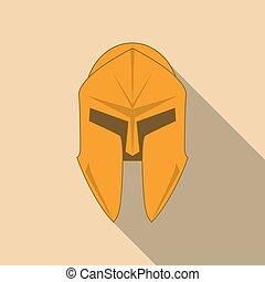 Spartan Helmet silhouette, Greek warrior. Corinthian helmet with long shadow. Vector illustration eps10
