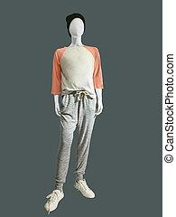 Child mannequin dressed in sportswear
