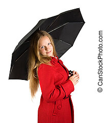 Pretty  girl in cloak with umbrella