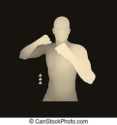 Boxer. 3D Model of Man. Human Body. Sport Symbol.