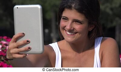 Woman Taking Selfie Using Tablet