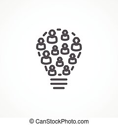 Crowdsourcing icon - Gray Crowdsourcing icon on white...