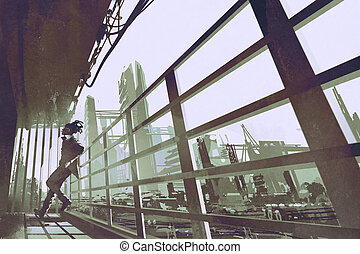 the man standing in a building industry construction