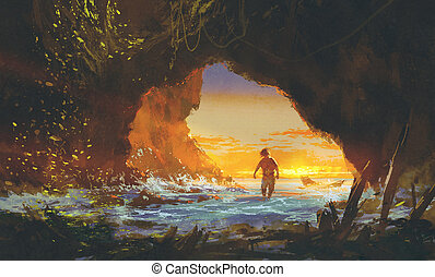 the man walking in the sea cave at sunset,illustration...