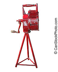 Antique Manual Fire Siren isolated with clipping path