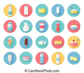 Dairy Products Icons Set - Different traditional dairy...