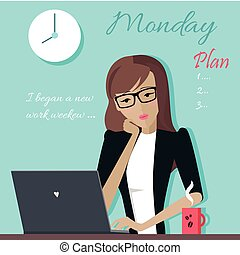 Monday. Woman Planning her Work for a Week.