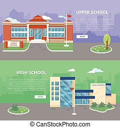 Upper and High School Vector Web Banners - Upper and high...