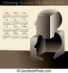 2017 calendar with a man thinking outside the box