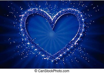 Frame cinema heart. Blue version.