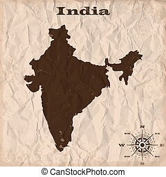 India old map with grunge and crumpled paper. Vector illustration