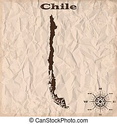Chile old map with grunge and crumpled paper. Vector illustration