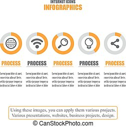 Process chart. Business data. Set of internet icons. Vector illustration