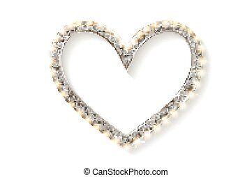 Frame cinema heart. Silver version. Isolated on white...