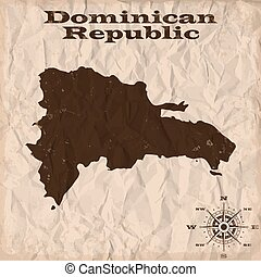 Dominican Republic old map with grunge and crumpled paper....