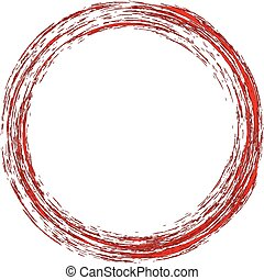 Round red frame with grunge. Vector illustration