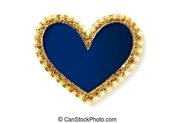 Frame cinema heart. Blue version. Isolated on white...