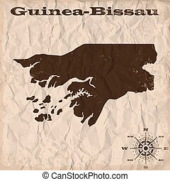 Guinea-Bissau old map with grunge and crumpled paper. Vector...