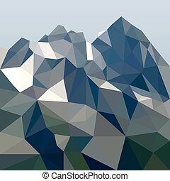 Rock in polygonal style. Mountain landscape. Vector...