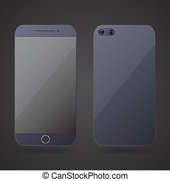 Smartphone realistic front and back on a black background....