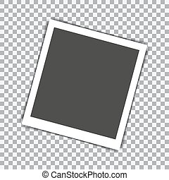 Retro photo frame with shadow on a transparent background