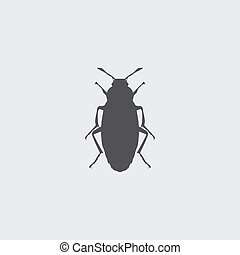 Beetle icon in a flat design in black color. Vector...