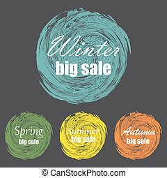 Set of vintage colorful labels for greetings and promotion. Winter, spring, summer, autumn big sale