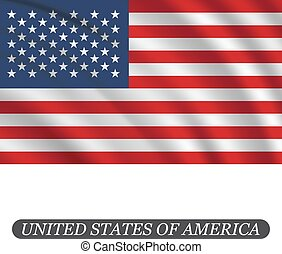 Waving USA flag on a white background. Vector illustration