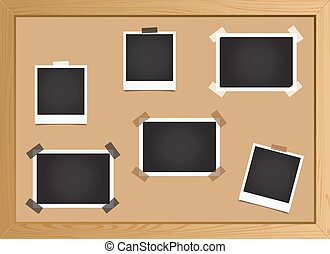 Set pieces of photo frames on the board