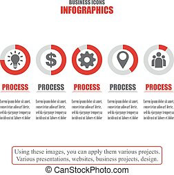 Process chart. Business data. Set of bisiness icons. Vector illustration