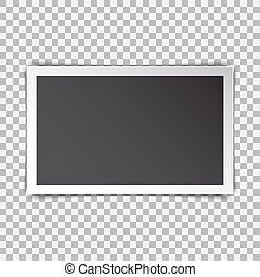 Photo frame retro with shadow on a transparent background