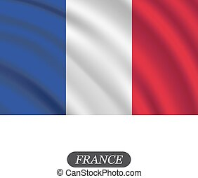 Waving France flag on a white background. Vector...