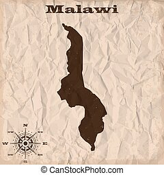 Malawi old map with grunge and crumpled paper. Vector...