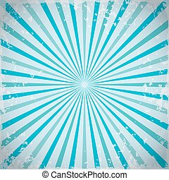 Sunburst retro rays background in blue. Vector illustration