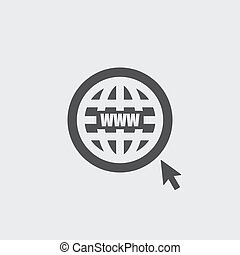 Website icon in a flat design in black color. Vector...